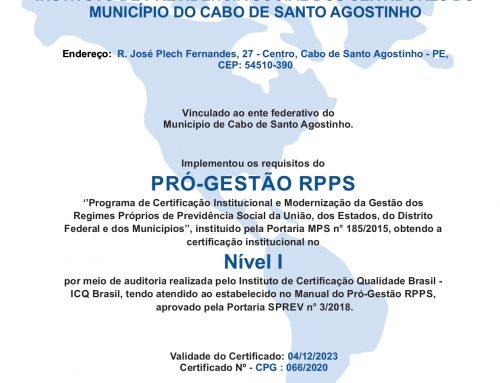 Caboprev conquista certificação do Pró-Gestão RPPS
